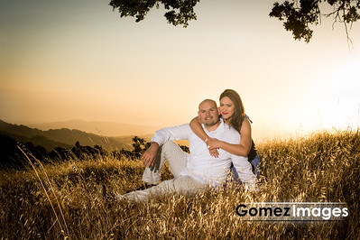 Sunset portrait of Engagement session in the morgan hill mountains