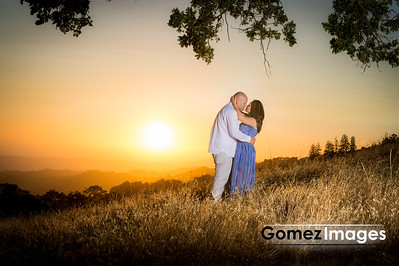 Romantic Sunset portrait of Engagement session in the morgan hill mountains