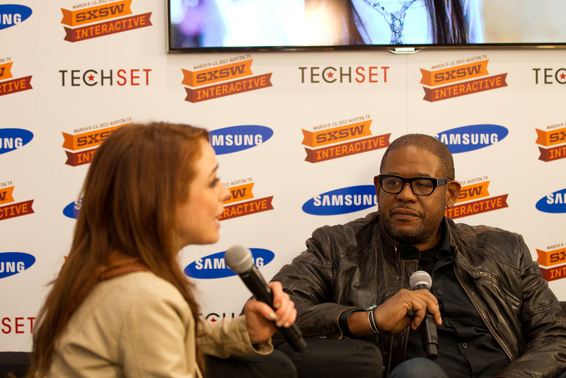 Forest Whitaker with Shira Lazar in the Samsung Blogger;s Lounge at SXSW Interactive 2012.<br /> 3/10/2012.<br /> <br /> ©Hutton Supancic/ WireImage