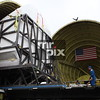 NASA's Super Guppy and the Space Shuttle Flight Simulator arrives at Museum of Flight