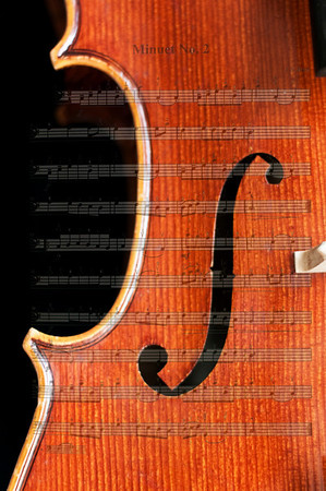 Minuet No. 2 Cello Detail with music superimposed