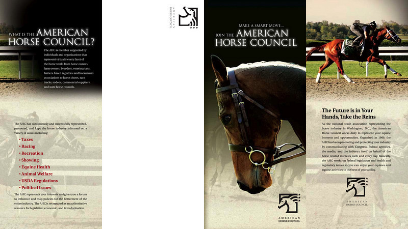 "Brochure design ©2009 American Horse Council. Posted with permission. Only the cover image (3rd panel from the left) is my work.<br /> <br />  <a href=""http://www.horsecouncil.org"">http://www.horsecouncil.org</a>"