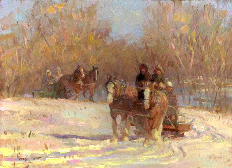 Prairie Sleigh Party 12x16<br />  PRIVATE COLLECTION