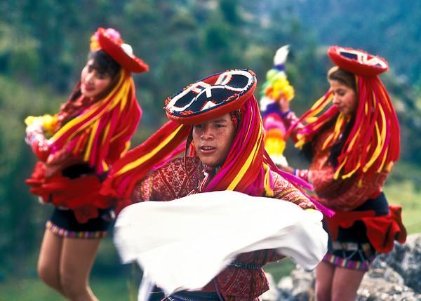 Peruvian Dancers near Cuzco Peru.