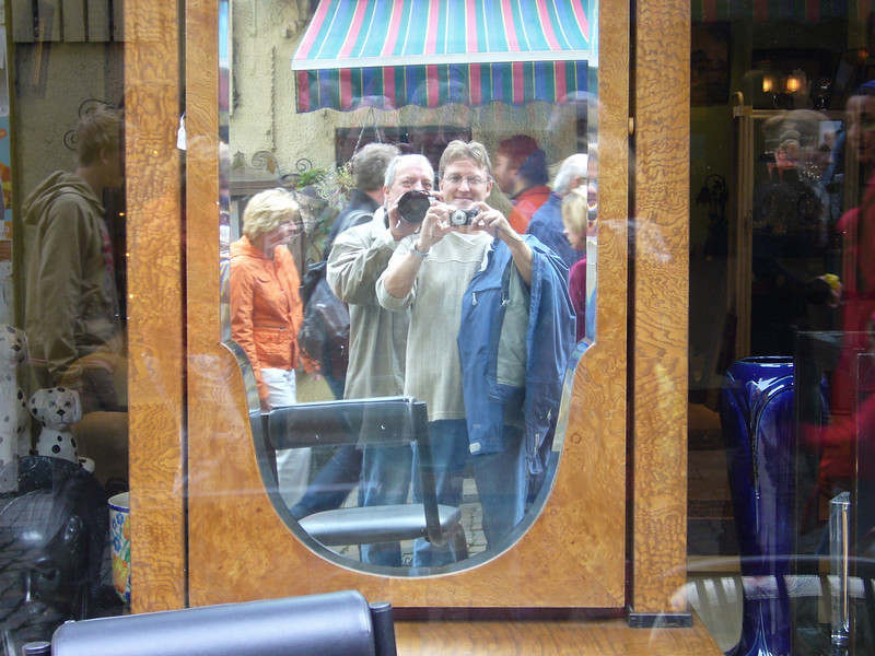 Self portrait in old mirror with my friend Dominique, Bruxelles, Marché aux Puces (2006) © Copyrights Michel Botman Photography