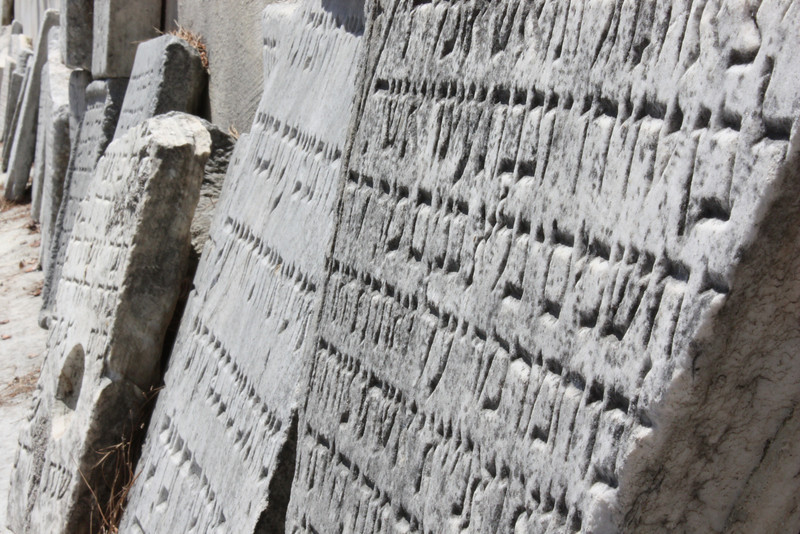 Rodos, Jewish cemetery.  Old Jewish tomb stones unearthed and relocated during the Italian mandate. (June 2009) © Copyrights Michel Botman Photography