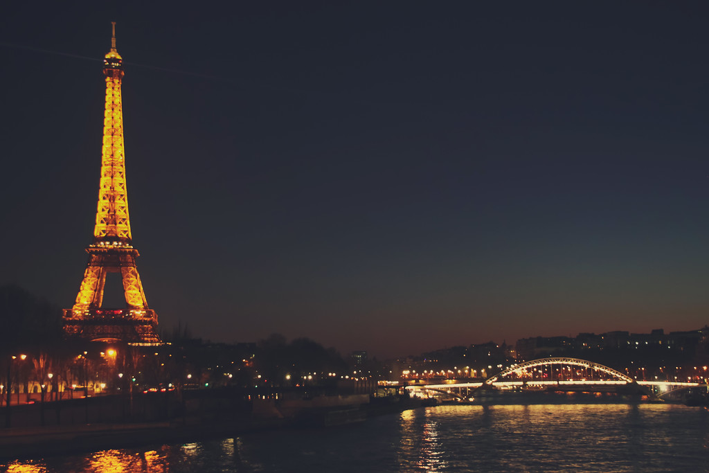 Nighttime along the River Seine (Paris, France)