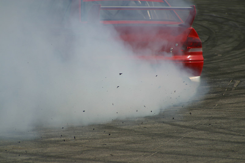 Trackside at the first D1GP, Irwindale Speedway.  Yummy tire rubber.