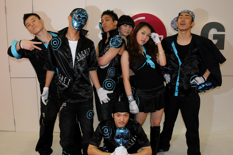 LG's team of dancers and performers at CommunicAsia 2008 and BroadcastAsia 2008 held at Singapore Expo, Singapore.
