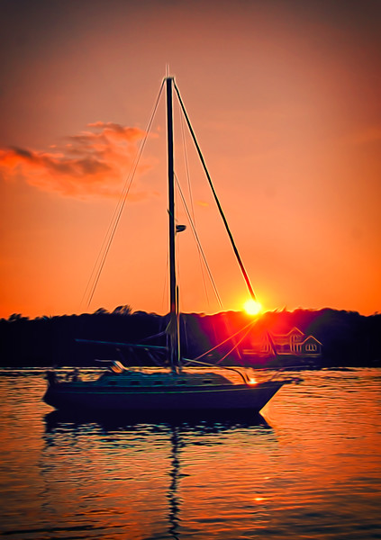 Sailboat at Sunset in the Mystic River, CT