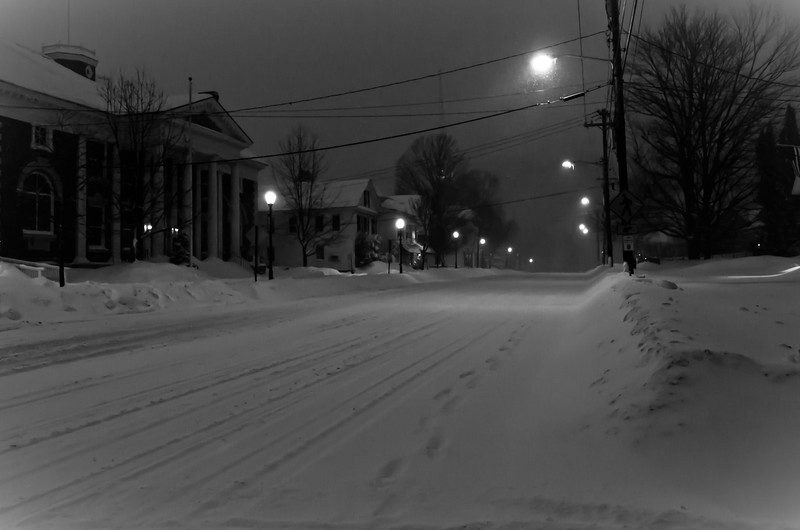 Snowy street in downtown Stowe, VT