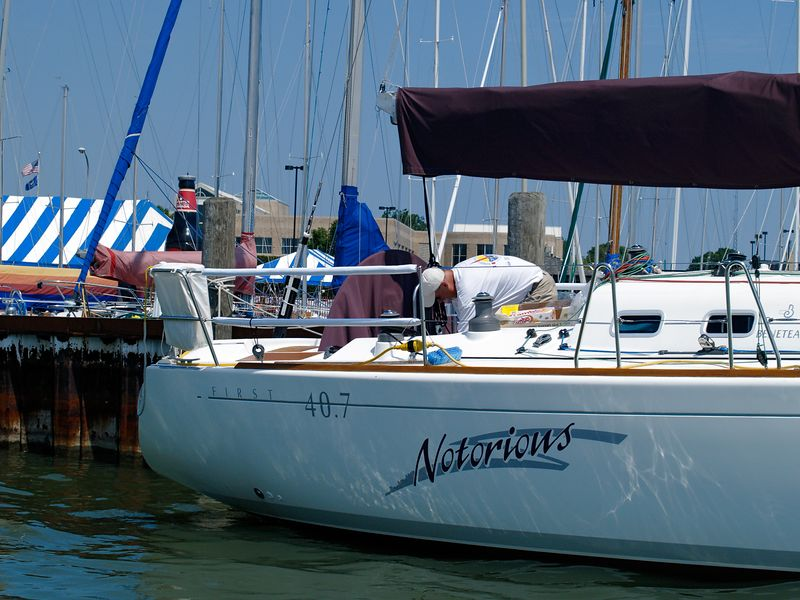 <font size=3>Crewman checking things out on the Notorious as she is docked at the Port Huron Yacht Club.</font>