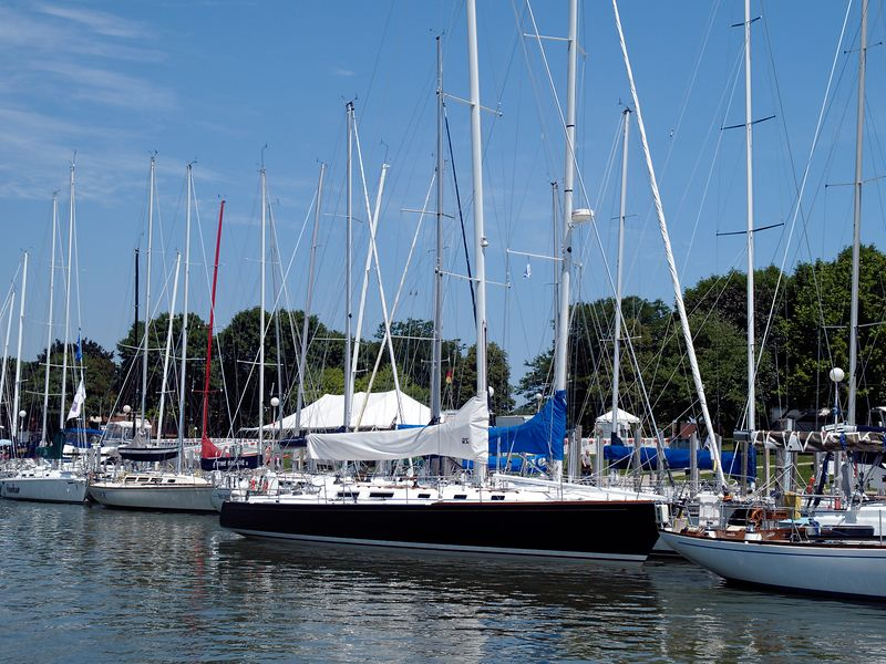 <font size=3>The boats are a little thicker on the other side of the Seventh Street Bridge.  This is the home of the Port Huron City Marina.  That's the Beer Garden under the white tent in the background.</font>