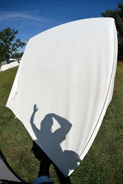 My Shadow on a Civil War Tent in Zoar