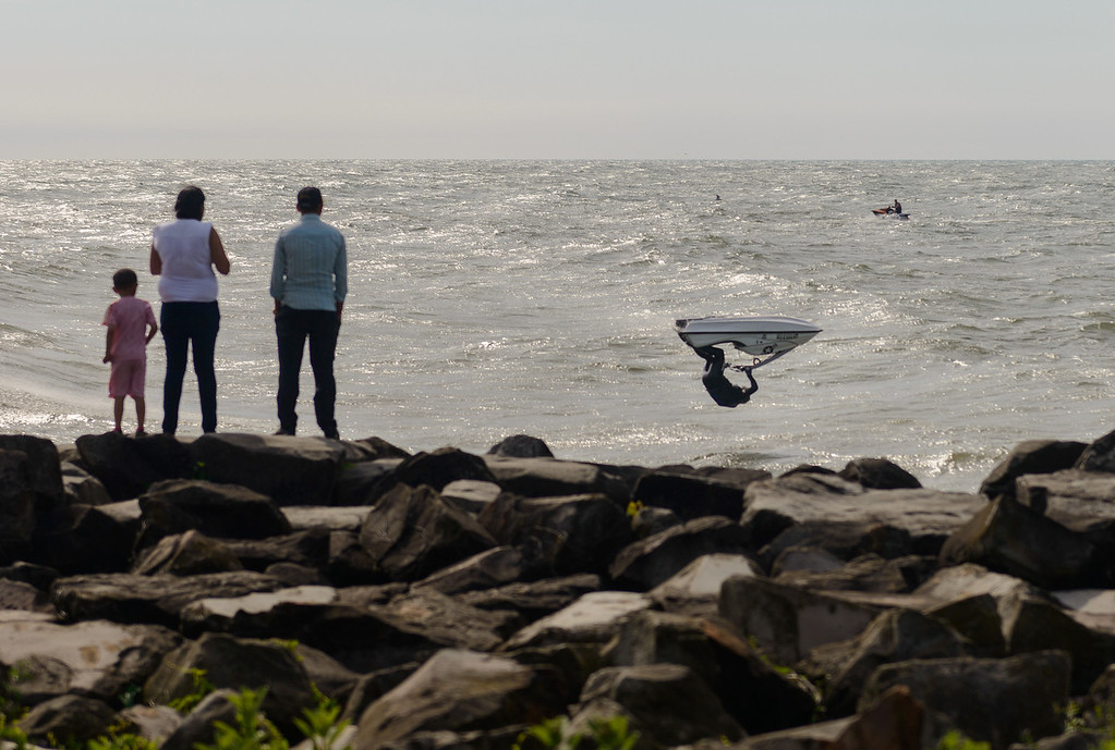 Jet Skier flips on Lake Erie