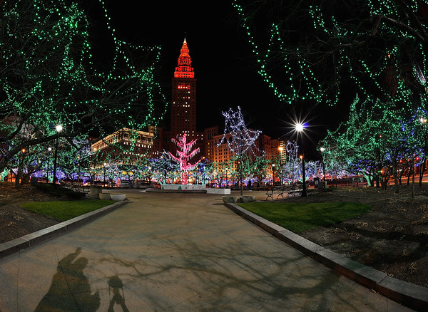 My Shadow taking photos of the Cleveland Holiday Lights
