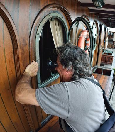 Nick peeking in the port hole
