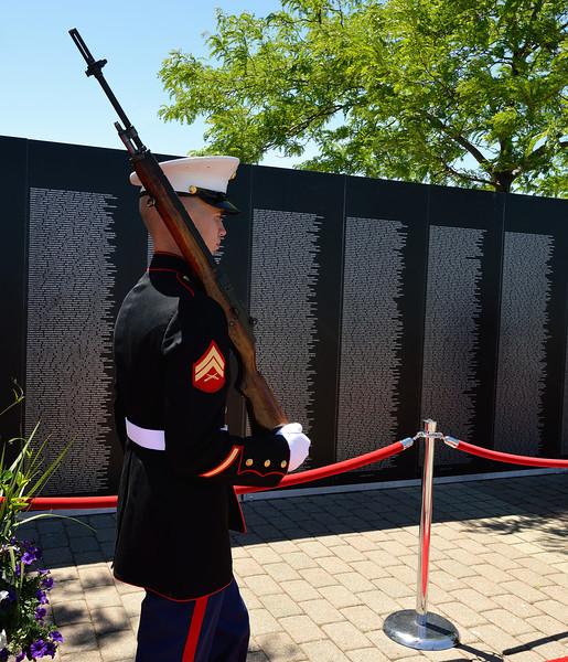 Honor Guard at Vietnam Memorial Wall Replica -Marine Week in Cleveland, Ohio