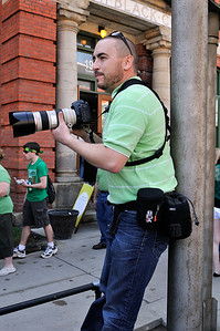 Dale looking for a shot. - Saint Patrick's Day Parade 2012