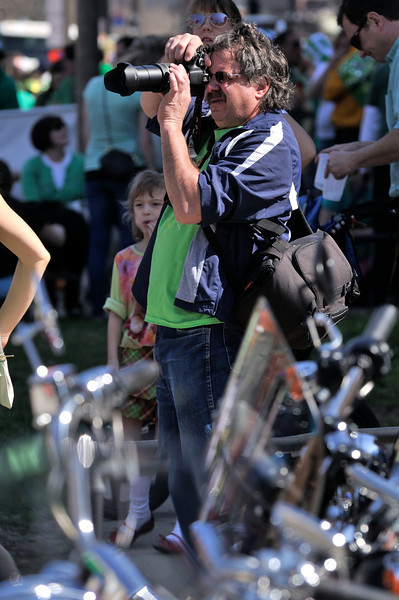 Nick zeroing in. - Saint Patrick's Day Parade 2012