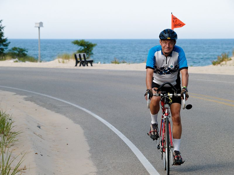 <font size=3>Another nice gentleman passing along the Lake Michigan shore. </font>