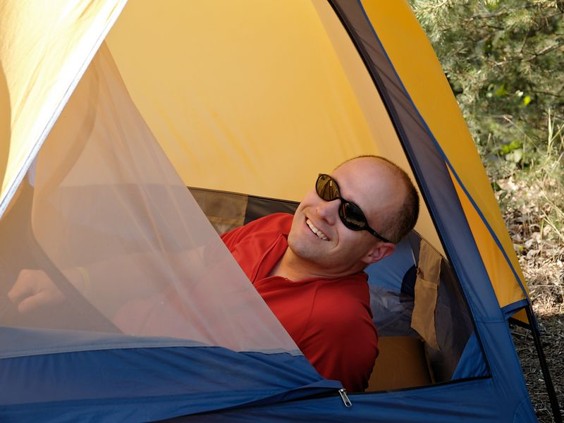 <font size=3>Here's Dave's buddy Gary relaxing in his tent as we wait for dinner to be served up.</font>