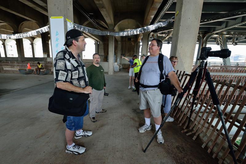 Photographers at the Veterans Memorial Bridge