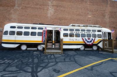 Trolley at the Veterans Memorial Bridge