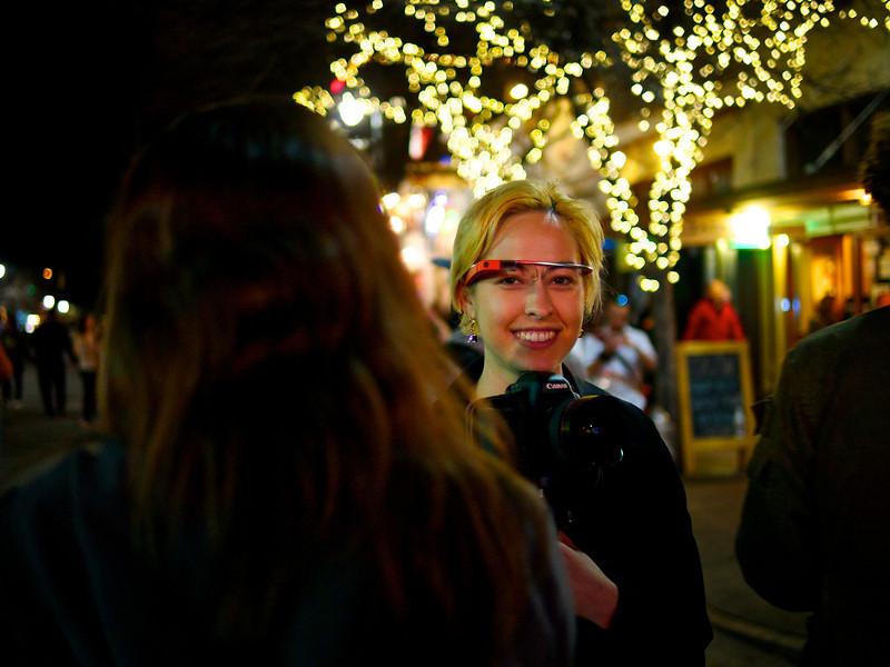 Lisa sporting Google Glass, SXSW Photowalk - Austin, Texas
