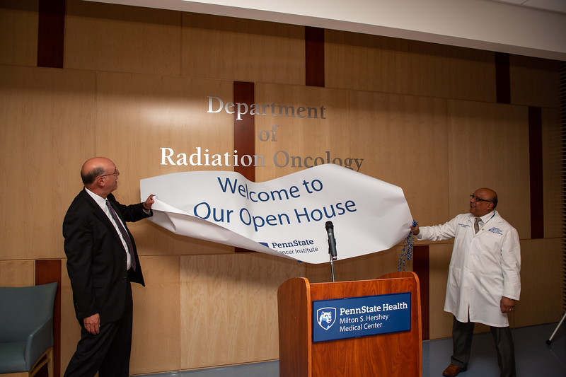 Drs. Hillemeier and Mahnaj unveil the new Department of Radiation Oncology at the Penn State Cancer Institute.