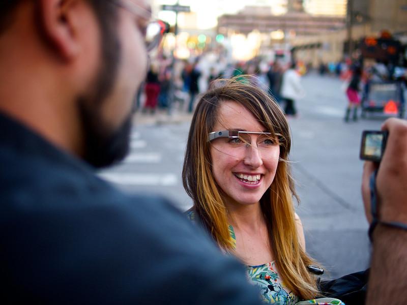 Nicole sporting Google Glass, SXSW Photowalk - Austin, Texas