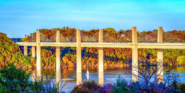 Lonely sailboat taking in the fall colors under the Stillwater Bridge.