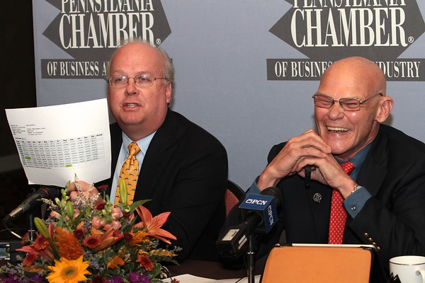 Karl Rove (L) and James Carville (R). PA Chamber of Business and Industry. October 2012.