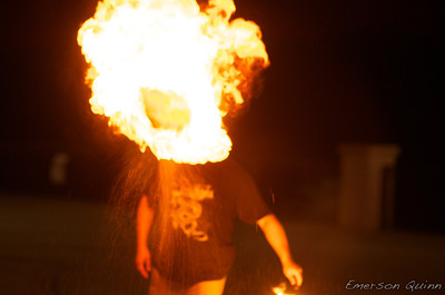 Fire breather sends fireball flaming through the air