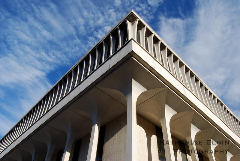 One corner of Robertson Hall, home of Princeton's Woodrow Wilson School, juts into the sky.