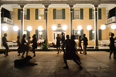 A mix of amateur and professional dancers enjoy live New Orleans jazz music near Middleburg, VA.