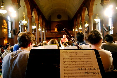 The Phillips Academy Symphony Orchestra rehearses in the school's chapel.