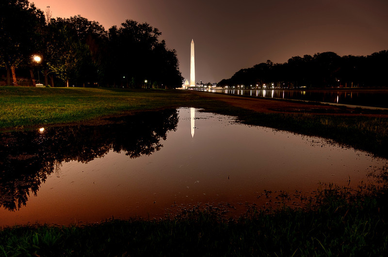 "Washington Monument & ""the reflection puddle""<br /> <br /> On my visit to DC I took my tripod and was able to take a few shots of the classics thanks to the help from my friends ...<br /> <br /> After taking the classic reflection shot, i realized there was this little puddle on one side of the reflecting pool and even with mosquitoes having an anxiety attack, I decided to go down on the lawn and give it a shot ... so I guess this is not your typical shot ...<br /> <br /> This is a 5 exposure HDR, taken with the mighty Nikkor 10-24"