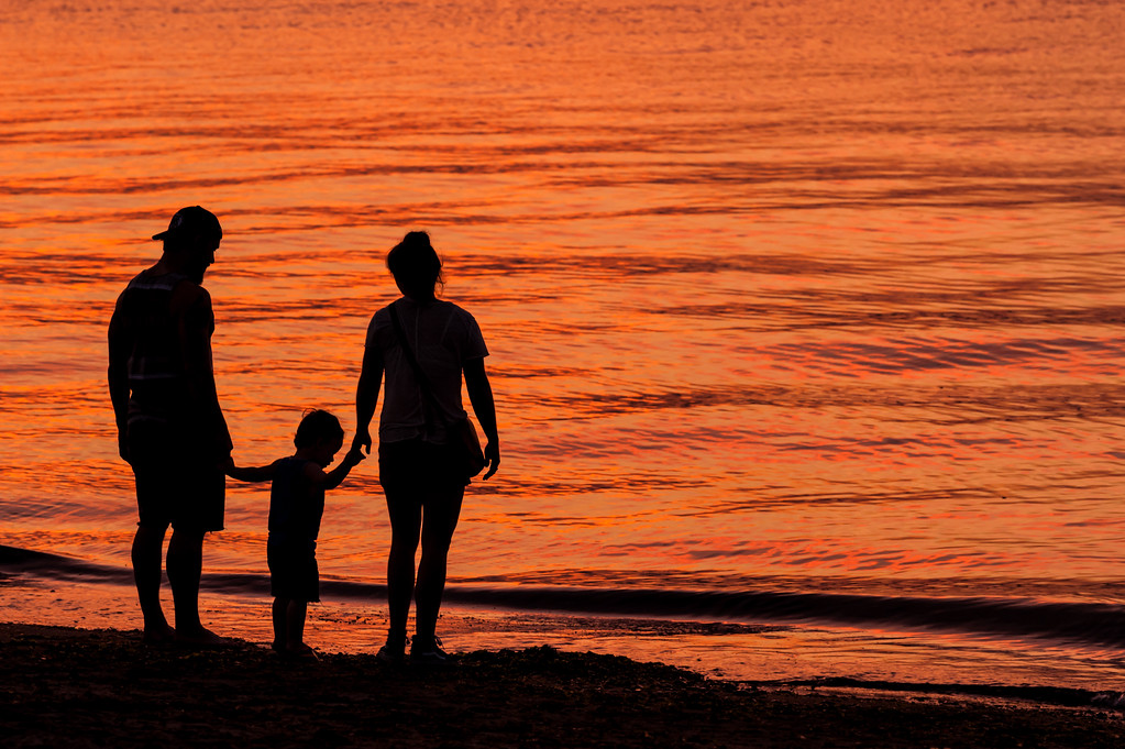 Family, Beach and the Sunset