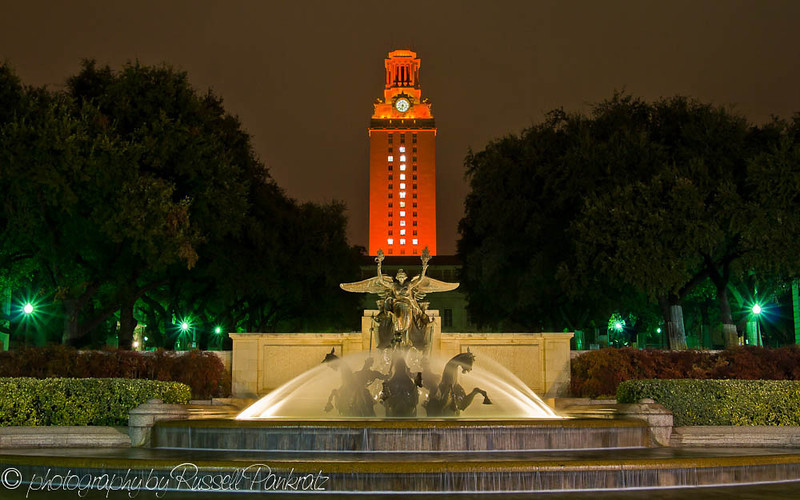 The University of Texas at Austin's Main Building Tower and the Littlefield Fountain, January 8, 2006.  After the Texas Longhorns won the BCS National Football Championship, the number 1 was displayed in the windows for several days.