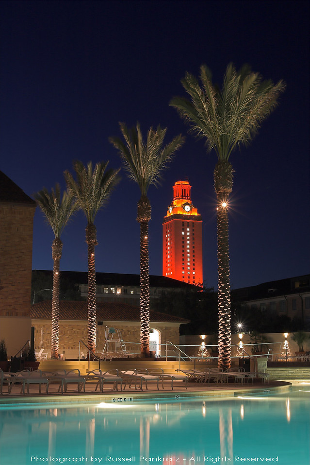 The University of Texas Tower after the Longhorns' 2005 National Football Championship. Photo taken from the UT Recreational Sports Department's Swim Center, on the former site of the old Varsity Cafeteria.