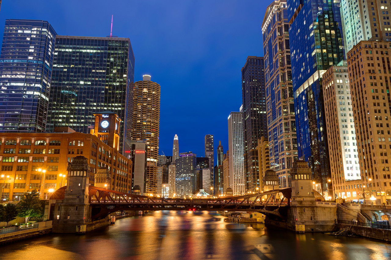 Chicago River - This was a great area to shoot for the lights and reflections. The real challenge was timing the shot so that traffic wasn't bouncing the bridge all over the place. - Chicago 2015