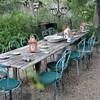 Rustic farm table setting in garden