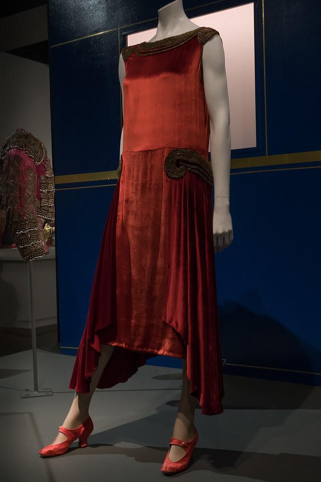 Velvet evening dress with Greek design at FIDM