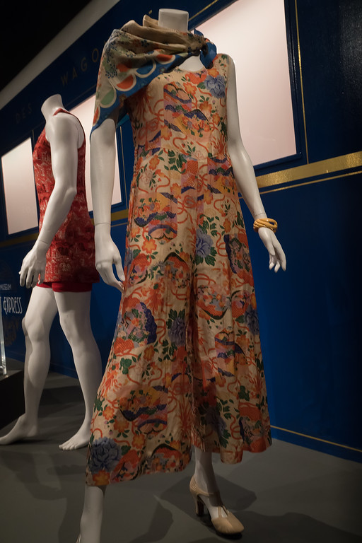 Lounging Pajamas and Scarf on display at FIDM's Exotica exhibit