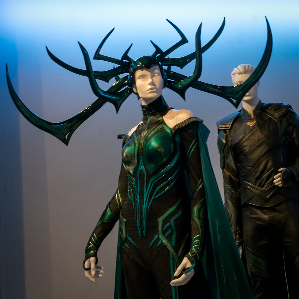 Hela and Loki from Thor: Ragnarok. Costumes designed by Mayes C Rubeo