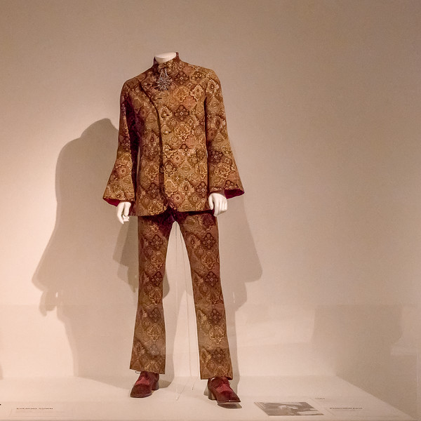 Tapestry or brocade suit from Apple Boutique, the Beatles-owned boutique in London.  George Harrison wore a version of this suit.