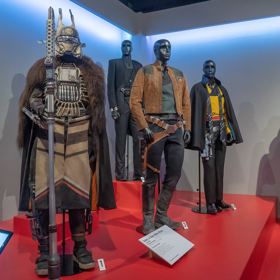 Enfys Nest, Dryden Vos, Han Solo, and Lando Calrissian costumes by Glyn Dillon and David Crossman
