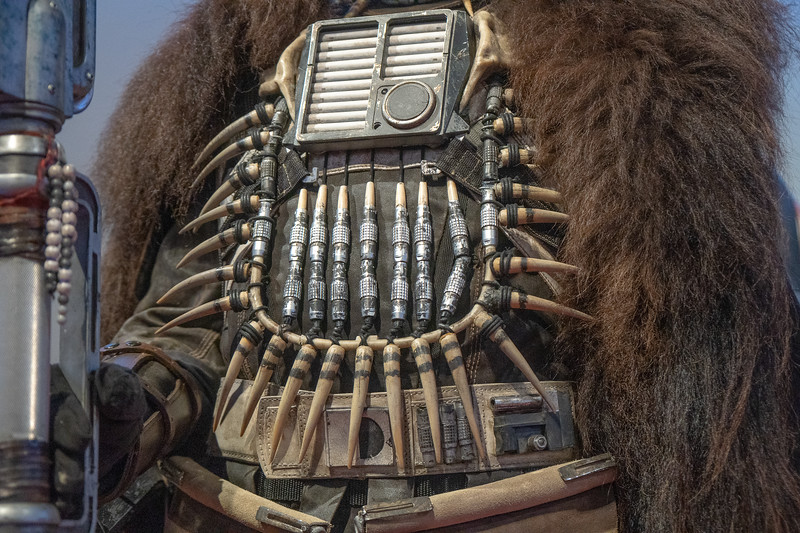 Detail on the costume of Enfys Nest from Solo: A Star Wars Story.  Design by Glyn Dillon and David Crossman