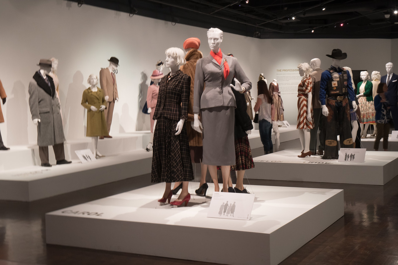 Display of several pieces in the center are costumes from movie Carol